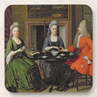A Tea Party (oil on canvas) Drink Coaster