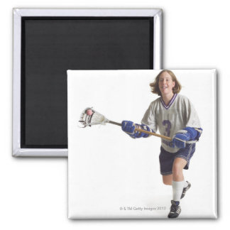 a teenage caucasian female in a white jersey square magnet