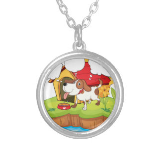 A thinking pet beside his doghouse round pendant necklace