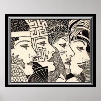 """A Thousand Lives"" Art Deco Print 16 x 20"