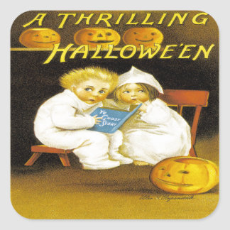 A Thrilling Halloween Square Sticker