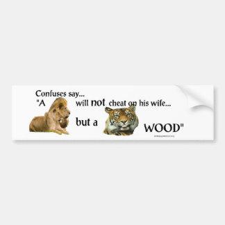 A tiger wood bumper sticker