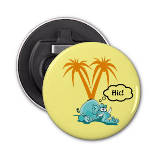 A Tipsy Blue Elephant Under Palm Trees Bottle Opener