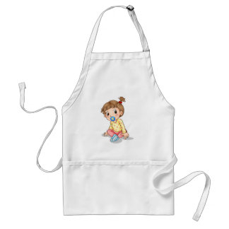 A toddler with a pacifier adult apron