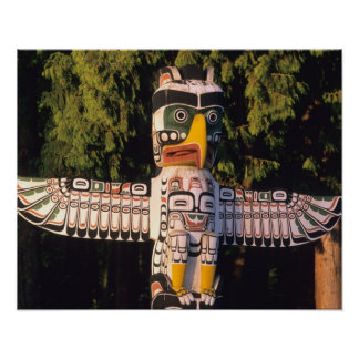 A totem pole In Vancouver, Canada. Poster