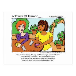 """""""A Touch of Humor"""" Anesthesiologist Massage Comic Postcard"""