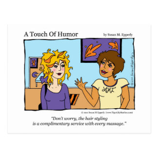 """A Touch of Humor"" Free Hairstyle Massage Comic Postcard"