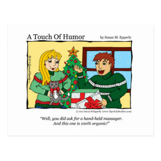 """A Touch of Humor"" Hand Held Massager / Cat Comic Postcard"