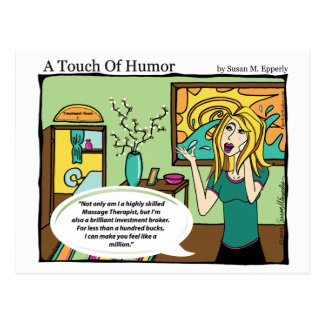 """A Touch of Humor"" Investment Broker Massage Comic Postcard"