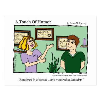"""A Touch of Humor"" Massage / Laundry Comic Mug Postcard"