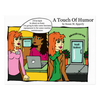 """A Touch of Humor"" Nail Salon Spa Massage Comic Postcard"