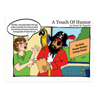 """A Touch of Humor"" Pirate Massage Comic Postcard"