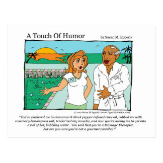 """""""A Touch of Humor"""" Spa Massage Cannibal Comic Postcard"""