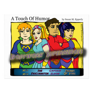 """A Touch of Humor"" Super Massage Heroes Comic Postcard"