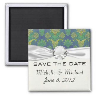 a touch of peacock damask design 2 square magnet
