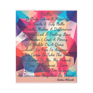 A Touching Smile & Say Hello Poem Canvas Print