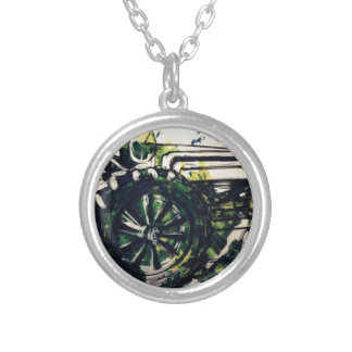 A Tractor! Silver Plated Necklace