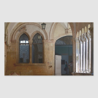A Tranquil Monastery Cloister in Dubrovnik Rectangular Sticker