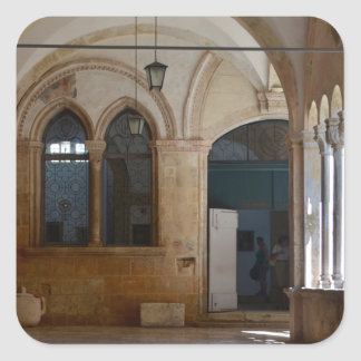 A Tranquil Monastery Cloister in Dubrovnik Square Sticker