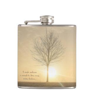 A Tree, Fog & a Sunrise with Beams of Light Flask