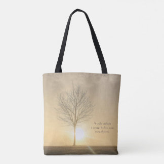 A Tree, Fog & a Sunrise with Beams of Light Tote Bag