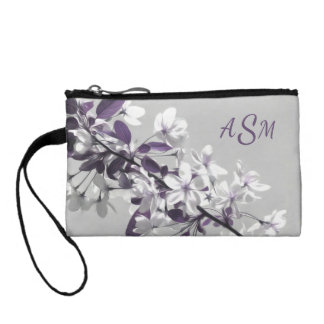 A Tree with White & Purple Flowers Gray Background Coin Wallets