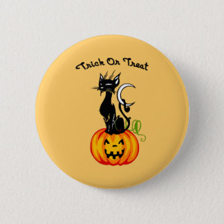 A Trick or Treat Cat 6 Cm Round Badge