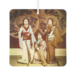 A Trio of Japanese Geisha in Old Japan Vintage 芸者 Car Air Freshener