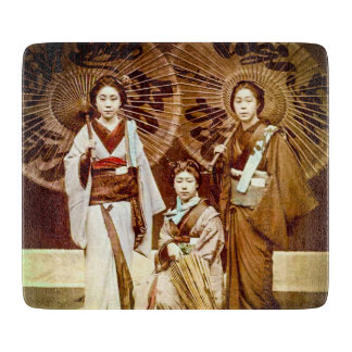 A Trio of Japanese Geisha in Old Japan Vintage 芸者 Cutting Board