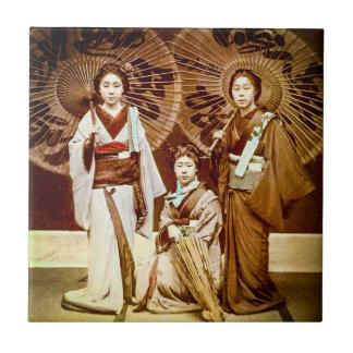 A Trio of Japanese Geisha in Old Japan Vintage 芸者 Tile