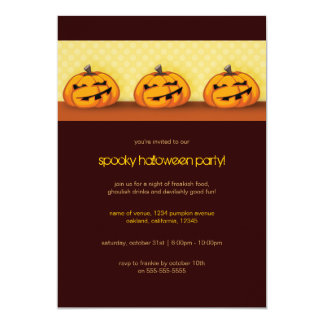 A Trio of Spooky Pumpkins | Halloween Party Invita 13 Cm X 18 Cm Invitation Card