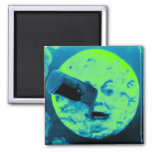 A Trip to the Moon (Aqua Marine Retro Sci Fi) Square Magnet