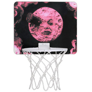 A Trip to the Moon Pink Vintage Retro Sci-Fi Mini Basketball Hoop