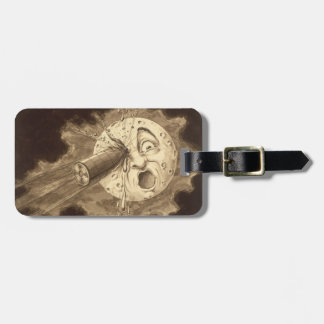A Trip to the Moon Vintage Drawing Luggage Tag