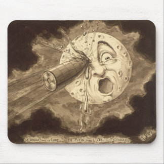A Trip to the Moon Vintage Drawing Mouse Pad