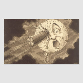 A Trip to the Moon Vintage Drawing Rectangular Sticker
