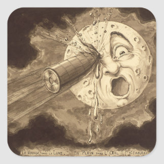 A Trip to the Moon Vintage Drawing Square Sticker