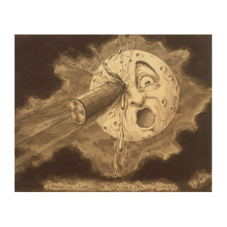 A Trip to the Moon Vintage Drawing Wood Wall Decor