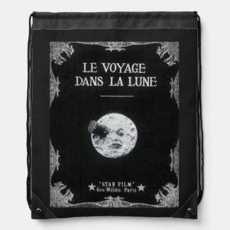 A Trip to the Moon Vintage Retro French Cinema Drawstring Bag