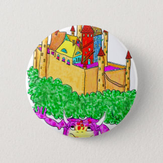A troll and a castle 6 cm round badge