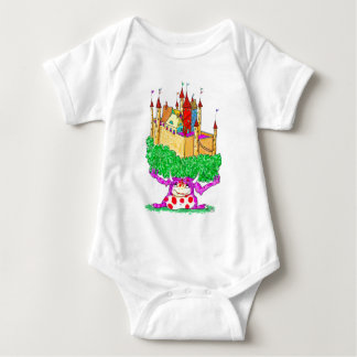 A troll and a castle baby bodysuit