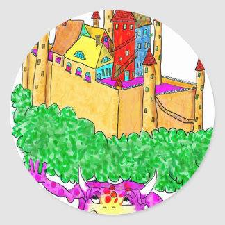 A troll and a castle round sticker