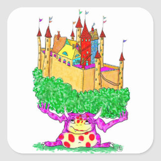 A troll and a castle square sticker