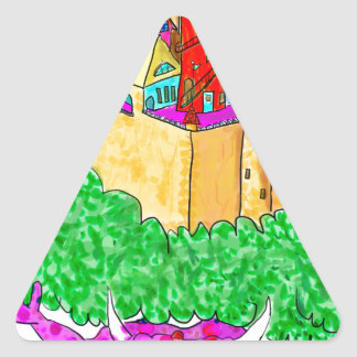 A troll and a castle triangle sticker