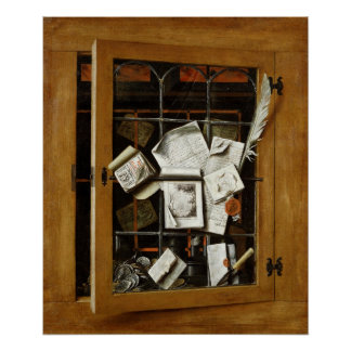 A trompe l'oeil of an open glazed cupboard poster