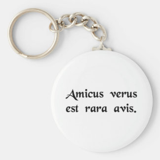 A true friend is a rare bird basic round button key ring