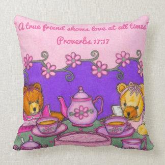 A True Friend-Love at all times~Bears Tea Party Throw Pillow