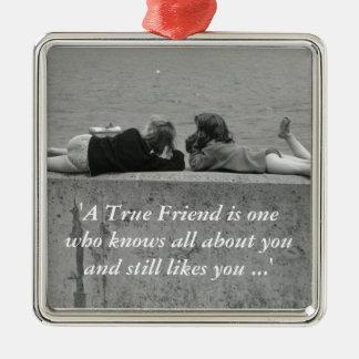 A True Friend Silver-Colored Square Decoration