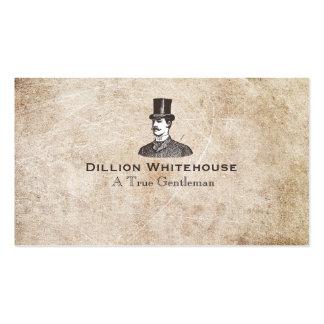 A True Gentleman in Top Hat Aged Grunge Look Business Card Template