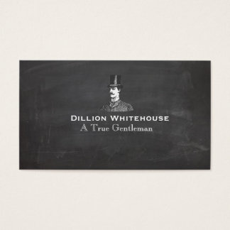 A True Gentleman in Top Hat Vintage Look Black Business Card
